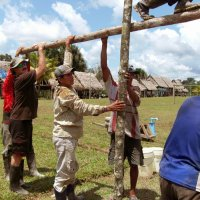Drilling wells in villages in the Amazon