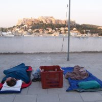 Sleeping on the roof of Hellenic ministries in Athens