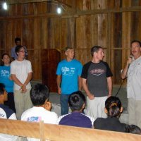 Preaching in a church in the Amazon