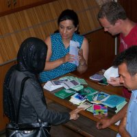 Handing out tracts to Muslims in Greece