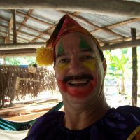 Being a clown in the Amazon jungle make-up stayed on for 30 min.