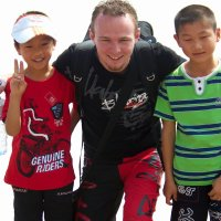 Jono in China. Playing with kids